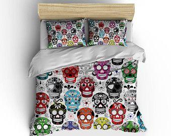 Sugar skull duvet coversSugar skulls bedding by BigWaveClothingCo