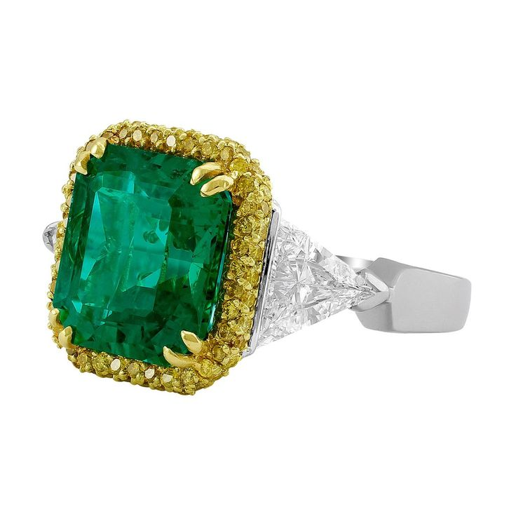 """Riviera"" 6.85ct Emerald & Diamond Platinum Ring – CJ Charles Jewelers"