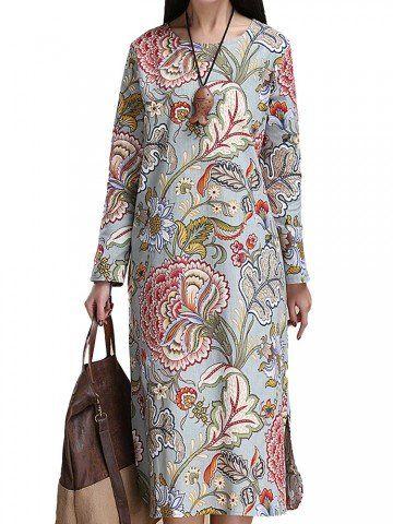 Stile Folk floreale stampato Split Metà di-Vitello maniche lunghe abito da diritta