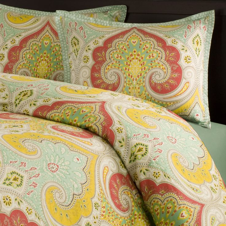 Add a splash of color in your bedroom with this bold and beautiful paisley bedding collection.  The fresh color is vibrant and fun.  The fabric is a super soft 400 thread count sateen that adds just a slight sheen to bring out the pops of color. The comforter has hidden bartacks so you get a clean finish. <br/> <br/> <br/> <br/> <br/> <br/> <br/> <br/> <br/>  <br/> <br/>A duvet cover is a protective cover for your comforter, most likely for your down comforter. Sometimes it's referred to as…