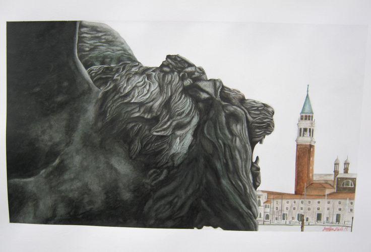 """""""Il Leone Marciano e l'Isola di San Giorgio, Venezia"""". Acquarelli. Dimensioni: cm 50 x 70 cm. By Jennifer Egista.   #Watercolors #Venice #VeniceItaly #VeniceCarnival #Art #Drawing #WatercolorPainting #Maimeri #VeniceLion #LeoneSanMarco"""