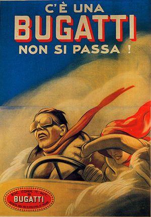 By Marcello Dudovich, 1922, Bugatti Advertisement.
