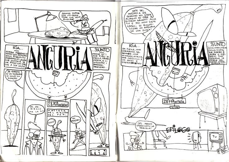 Otto Kin Anguria Katzyvari n.4 (Tresh) pagine 24 e 25, 1994 disegni e testi di Otto Kin