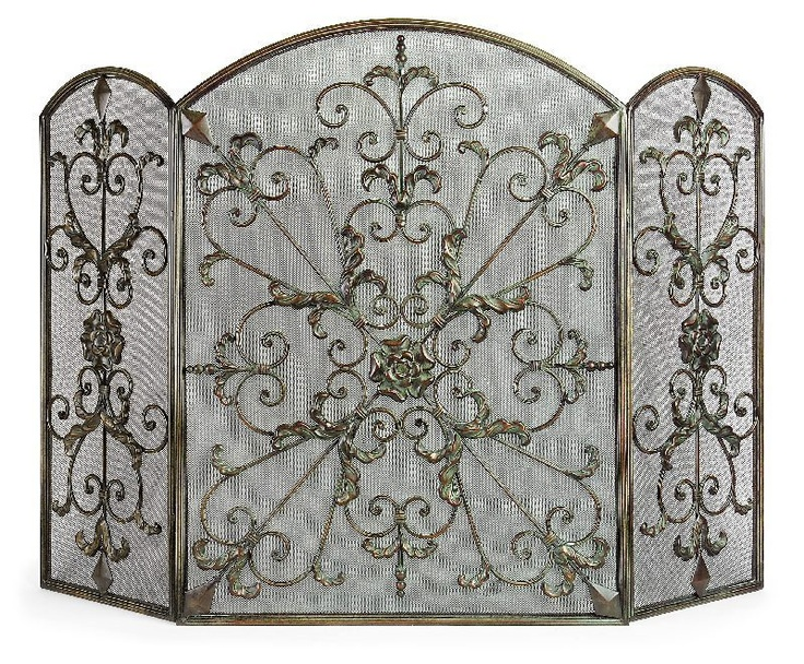 Antique silver fireplace screen silver and old pinterest for Silver fireplace doors