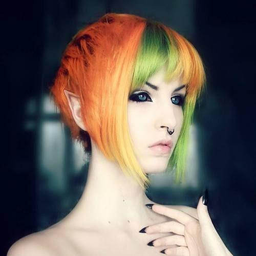 Elf Halloween pixie hair dye spooky orange hair green hair dark ...
