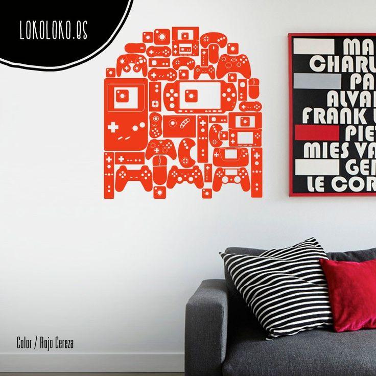 Vinilo decorativo de videojuegos · Silueta de fantasma de Pacman compuesta por gamepads y consolas #lokolokodecora contigo ;)