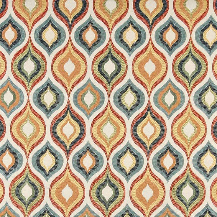 Aqua Red Gold Beige And Coral Teardrop Pattern