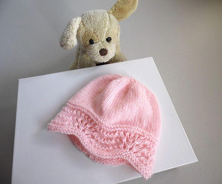 Bonnet rose tricot laine bébé fait main : Mode Bébé par bleu-blanc-neige