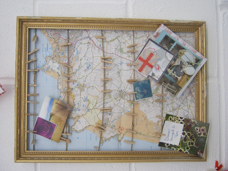 Map notice board with pegs, also comes with handmade bags to make the board in to an advent calendar.