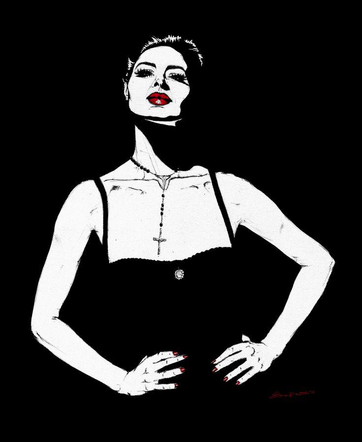 VOGUE, february 1995 | Isabella Rossellini by Michael Comte | elenapaoletti_illustrations