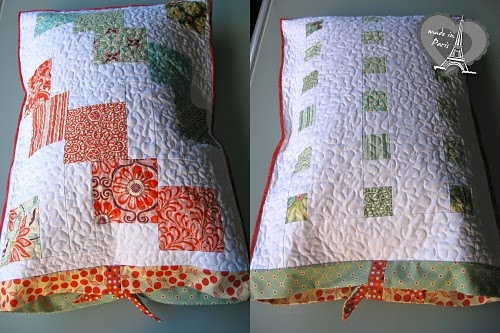 Quilted pillowcase with charm squares - free tutorial #pillocase #quilting