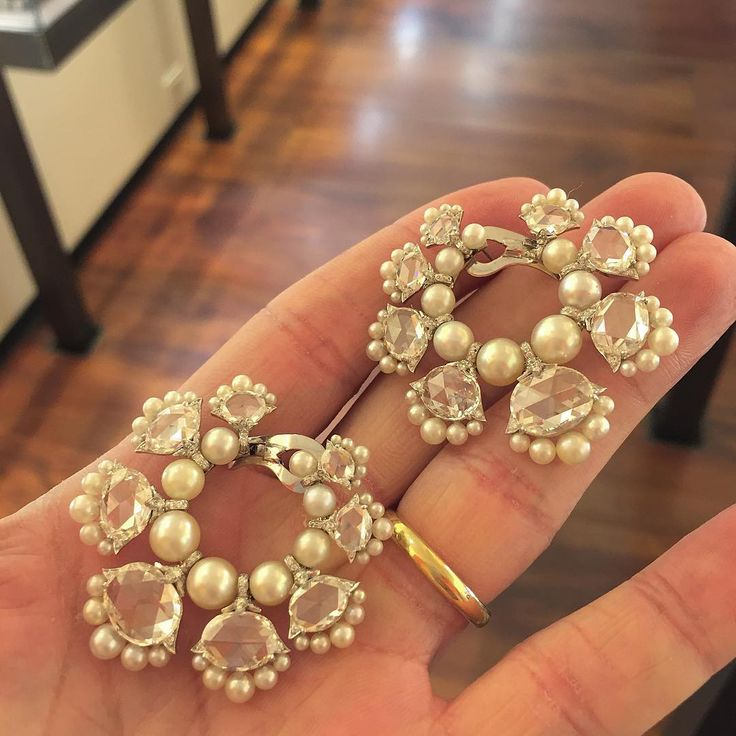 """""""BHAGAT Natural Pearl and Diamond Hoop Ear Clips #ForSale #BhagatJewels #fdgallery"""""""