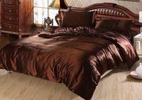 7 개 럭셔리 브라운 실크 침구 세트 새틴 시트 슈퍼 킹 퀸 전체 트윈 사이즈 이불 커버 장착 침대 디자이너 이불 침대