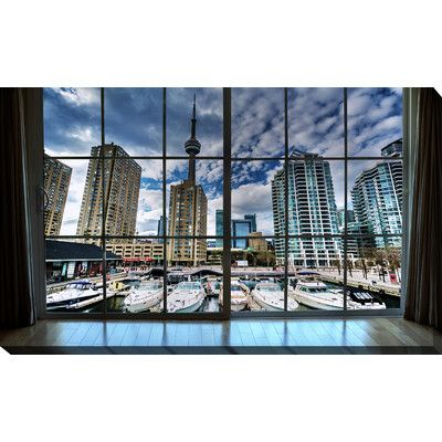 PicturePerfectInternational 'Marina and Buildings at the Harbourfront, in Toronto, Ontario Window' Photographic Print on Wrapped Canvas Size: