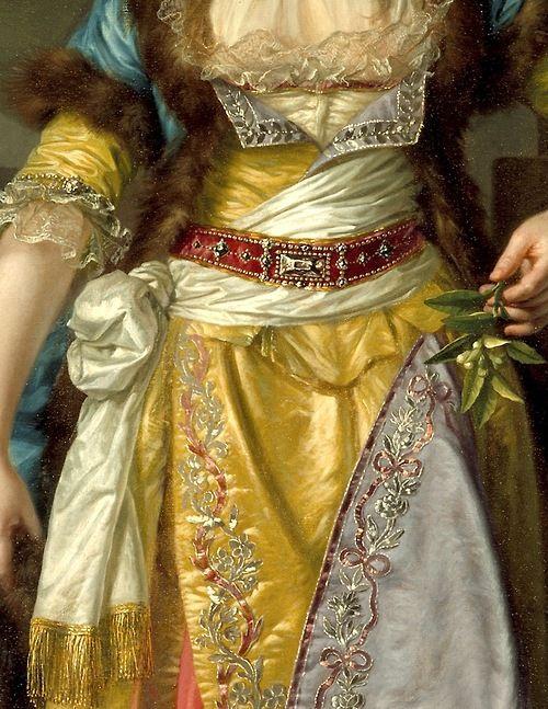 mademoisellelapiquante: Retrato de una señora en el vestido de lujo de Turquía (detalle)   Jean-Baptiste Greuze   c.  1790