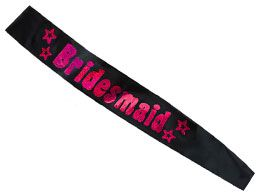 Bridesmaids sashes in black & pink to match the rest of the hen party sashes. Plus help the bar staff spot who is in charge of the carnage lol http://www.funkyhen.com/hen-party-sashes/black-bridesmaid-sash-with-pink-writing/