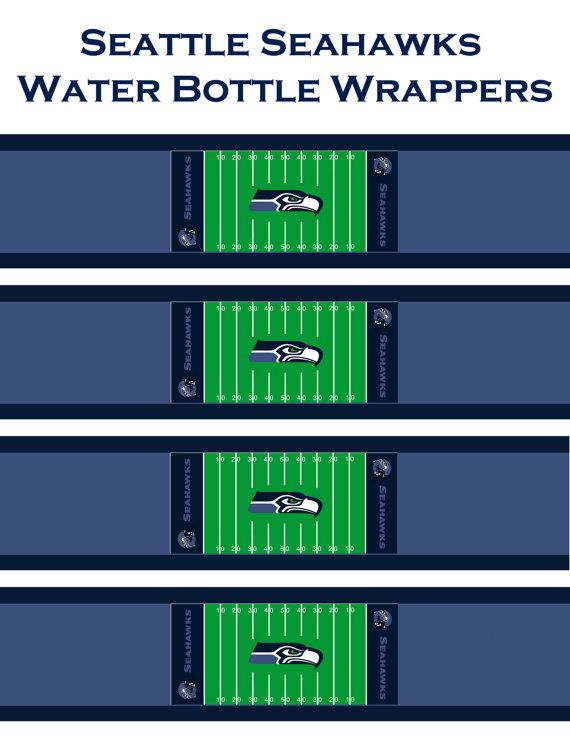Instant Download NFL Seattle Seahawks water bottle wrappers! printable DYI jpg Football Team Sports  party team Superbowl Blue green on Etsy, $3.00