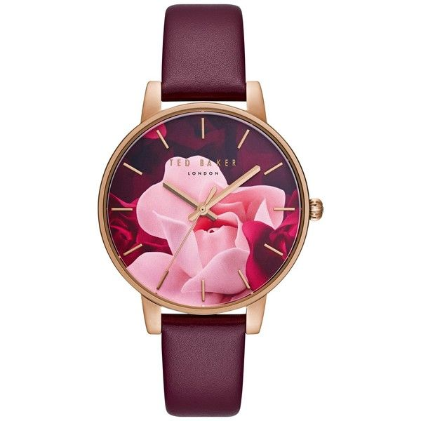 Ted Baker TE15162009 Women's Exclusive Leather Strap Watch (4 440 UAH) ❤ liked on Polyvore featuring jewelry, watches, dial watches, round watches, ted baker, floral jewelry and leather strap watches
