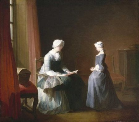 """""""The Good Education"""" (1753) by Jean-Simeon Chardin. Chardin painted several popular paintings of domestic life."""