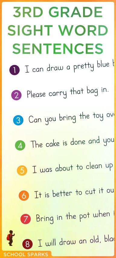 Free Third grade Dolch sight word sentences. Each page contains eight sentences that correspond to a set of eight Dolch sight word flashcards.