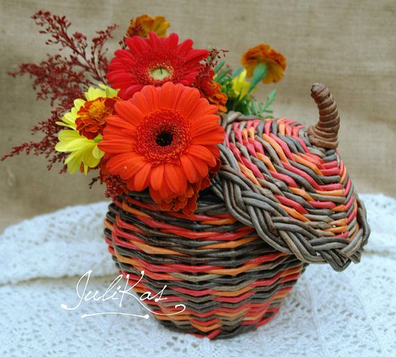 A pot Pumpkin and 3 small pots Fall Decor