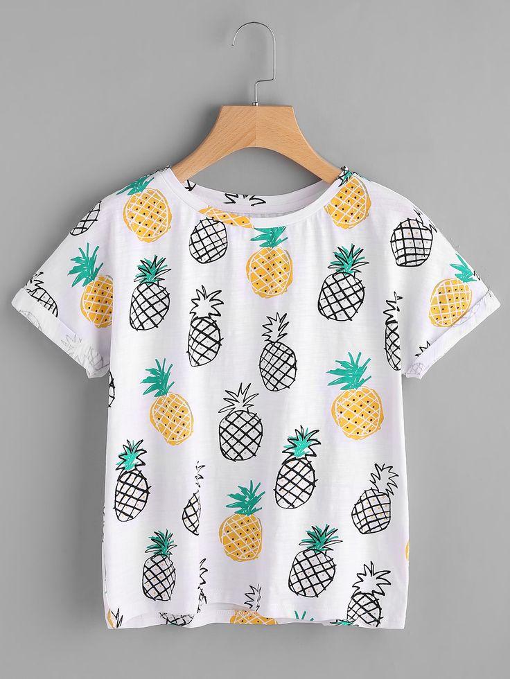 Tee-shirt imprimé des ananas avec des replis -French SheIn(Sheinside)