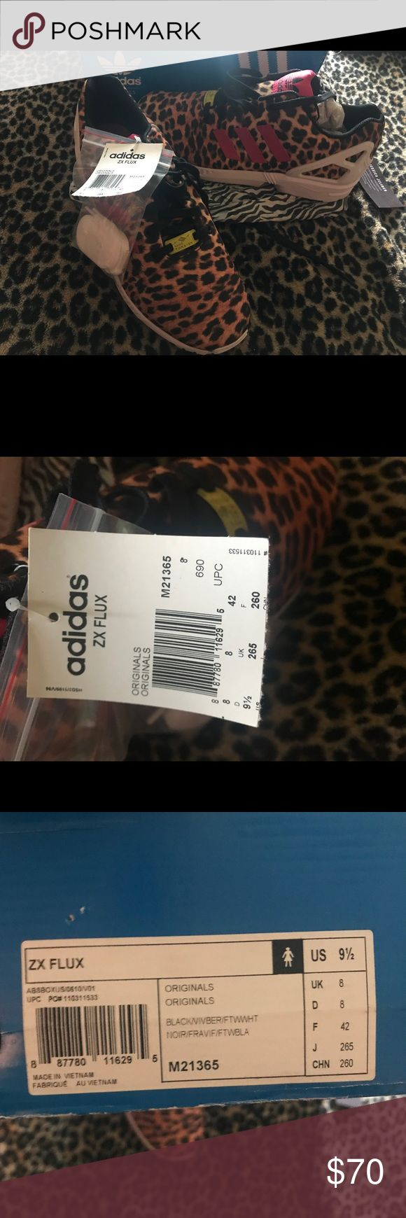 Adidas Zx flux leopard print women 9.5 Leopard print with red labeling new with tag and extra laces adidas Shoes Athletic Shoes