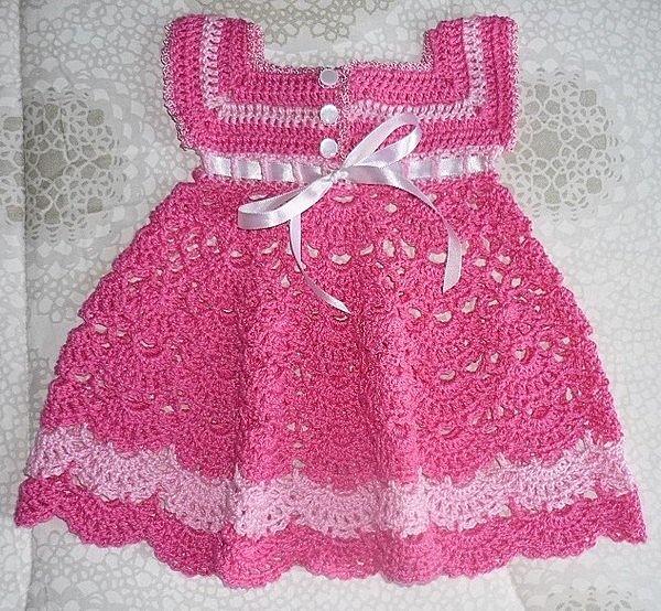 Crochet Baby Robe Pattern : Robe rose pour fillette et ses grilles gratuites ...