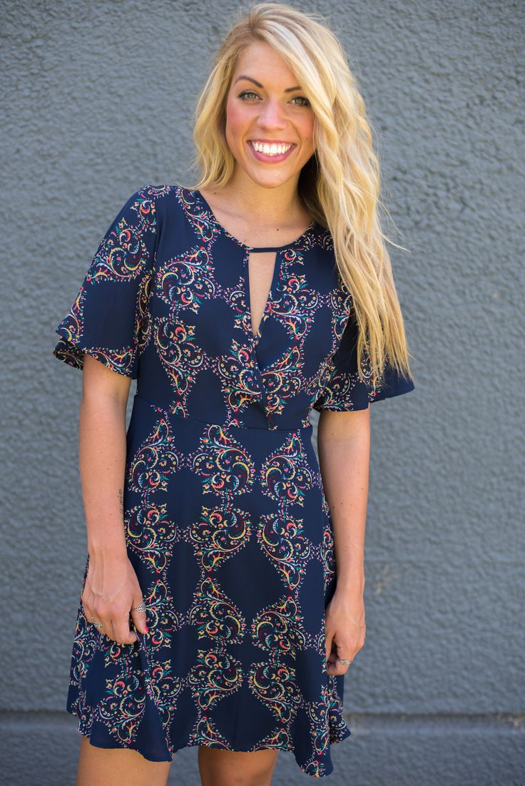 Navy multi printed fit and flare dress from Lush Fashion Lounge