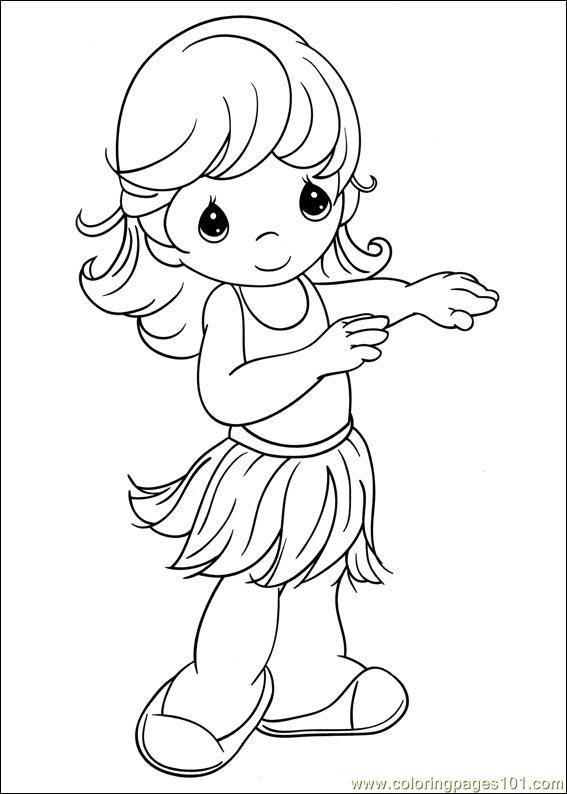 Hula girl | Coloring Pages- Precious Moments | Pinterest ...