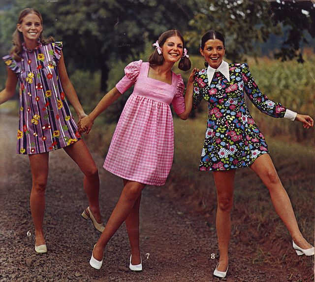 "1970's I must say that little pink dress in the middle was also popular in 1968.  I know, because I made it to wear at school.  I was called ""Babydoll"" Dress."