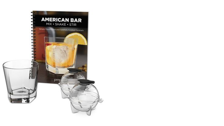 """Cocktail Gift Set  jumbo re-usable ice balls glass whiskey tumbler """"American Bar"""" recipe book drink party festive engagement shower wedding #ad"""
