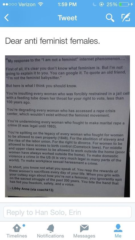 I don't know what Feminism is, do I? Really. Case the feminists seem to change the definition of feminism every time a radical feminist does something you don't agree w/. Then whatever they do isn't 'feminism'. Or 'that's not what feminism is, really'. Cause feminists don't hate men, no, not all. I distinctly remember a feminist saying that 'feminism is not for men'. We don't know what the definition of Feminism is b/c you keep changing it.