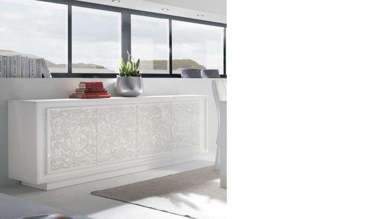 Buffet blanc laqué mat design avec motif fleurs ARUM