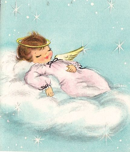 Vintage Christmas Card Sleeping Angel