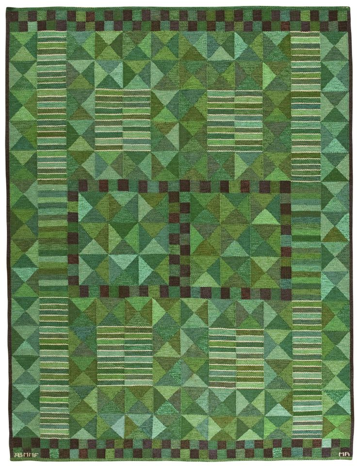 Märta Måås-Fjetterström and Marianne Richter; Flat Weave Wool Rug, 1958.