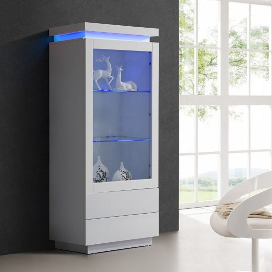 Lenovo Display Cabinet In White High Gloss With Led Light Funiture 2019 Gl Shelves Ikea