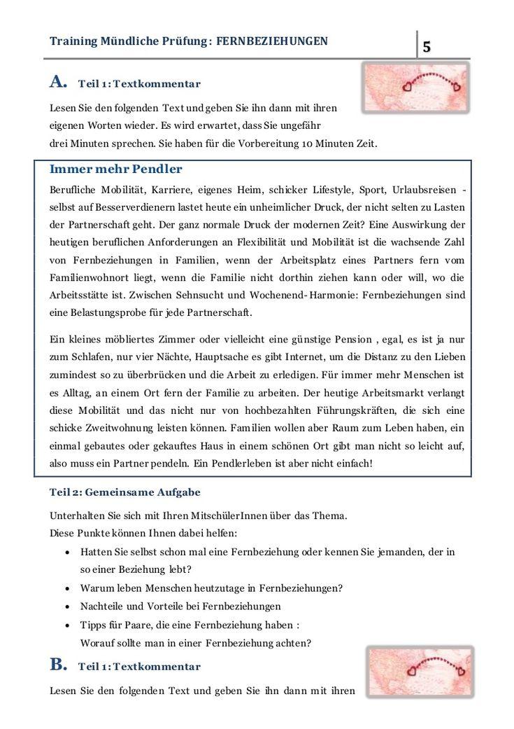 FERNBEZIEHUNGEN - Traininig für die Mündliche Prüfung B2.2