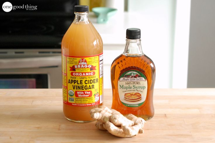 Switchel 4 tsp raw, organic apple cider vinegar 4 Tbsp pure maple syrup 1 tsp fresh ginger, grated 4 cups water OR seltzer water