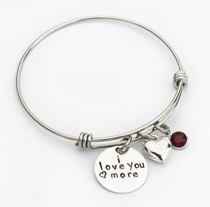I Love You More Expandable Bangle Charm Bracelet