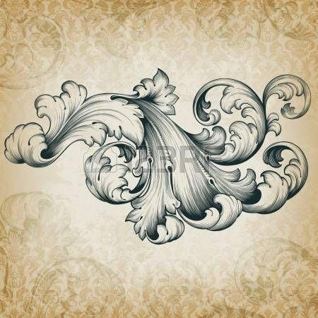 flower engraving: vendange gravure floral baroque de défilement en filigrane cadre de bordure design pattern élément acanthe à fond grunge rétro damas Illustration