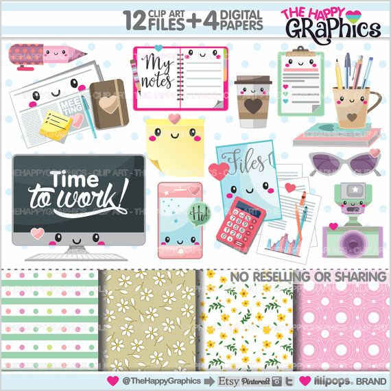 Office Stuff graphics for COMMERCIAL USE - Office supplies, clipart - planner