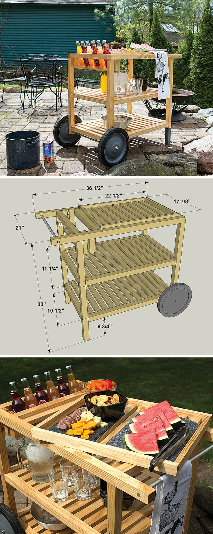 "Make outdoor entertaining easy with this serving cart. It offers lots of space for storing food, tableware, and outdoor supplies, plus it cradles bottles where they're easy to reach but protected from spills. The top ""shelf"" is a lift-off tray, so you can carry supplies from the cart to your table. Get the free DIY plans at buildsomething.com"