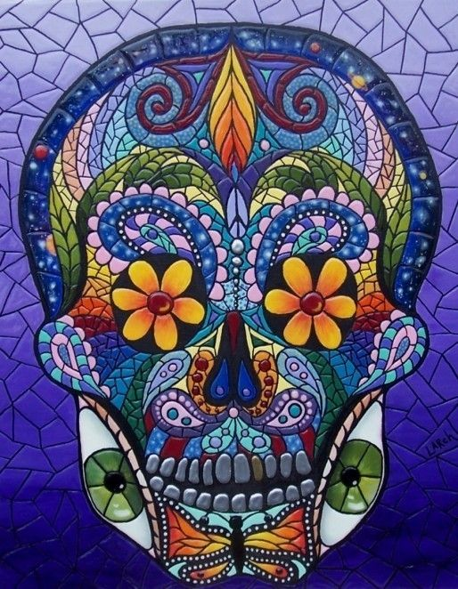 Dia de los Muertos Art Magnet Large 5x4 inches Mosaic by KayLarch