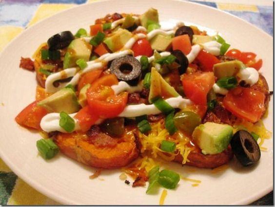 Sweet Potato Nachos/Loaded Sweet Potatos (could use red potato too)