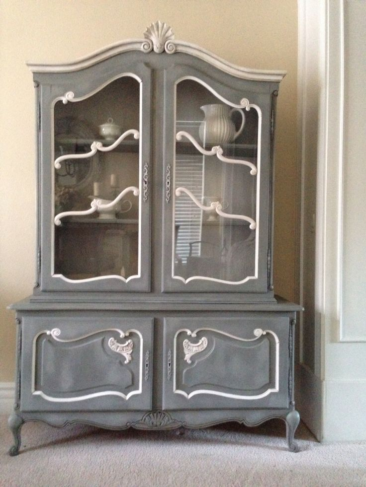 A Beautiful China Cabinet Chalk Painted In Gray With Two