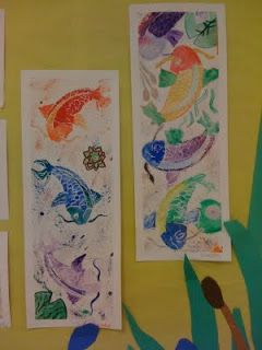 Miss Rossi's Art Class: Koi Fish {I like the white mask/outline - white pastel or crayon}