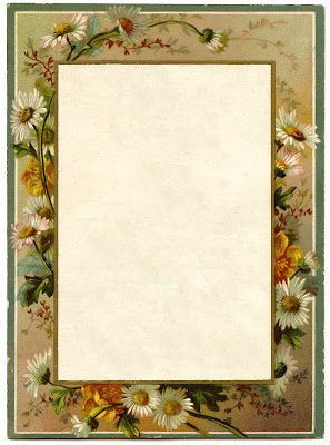 Vintage French Menu - Daisy Frame - The Graphics Fairy