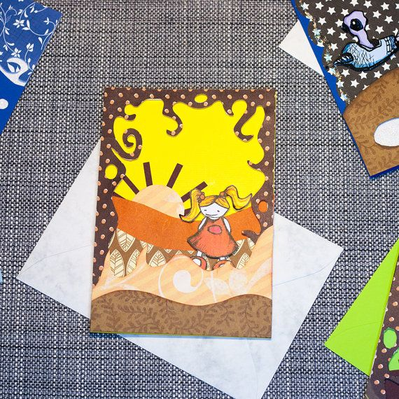 "Note card - Layered 3D greeting card: ""Girl in the desert"" One of a kind, no text inside, handmade in Norway by Toddy"