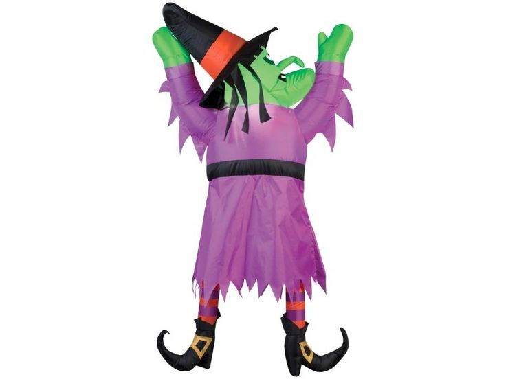 This inflatable witch seems to have crash landed into your house after losing her broom but she will still make a great decoration for your Halloween happenings! This witch will strap easily to a door or gutter, can be used indoors or outdoors under gentle elements due to its weather resistant fabric and requires no batteries as electricity is used. Buy two or more to create more of an impact! Item measures 60 inches by 12 inches by 42 inches.